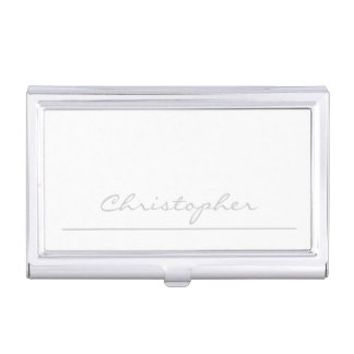 * Stylish Silver Signature Personalized Business Card Holder