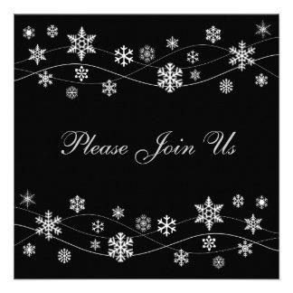 Stylish Silver White Snowflakes Invitations