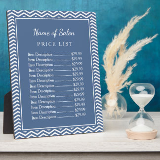 Stylish Slate Blue Chevron Beauty Salon Price List Plaque
