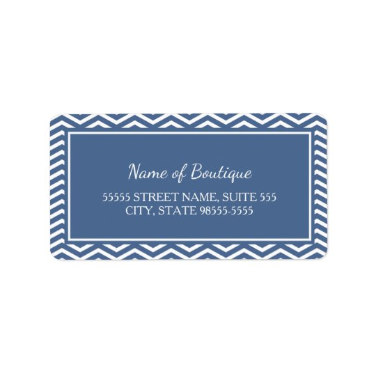 Stylish Slate Blue Chevrons Address Label