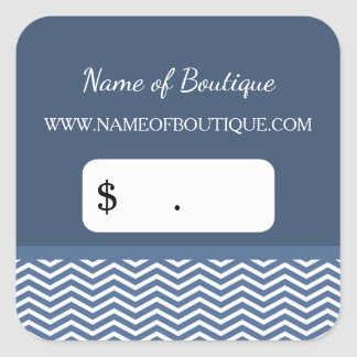 Stylish Slate Blue Chevrons Boutique Price Tags Square Sticker