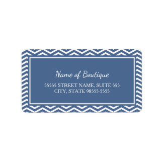 Stylish Slate Blue Chevrons Label