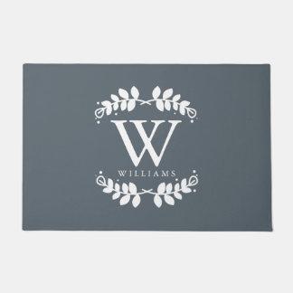 Stylish Slate Gray Family Monogram Doormat