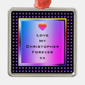 Stylish, Smart Love with Heart and Stars Metal Ornament