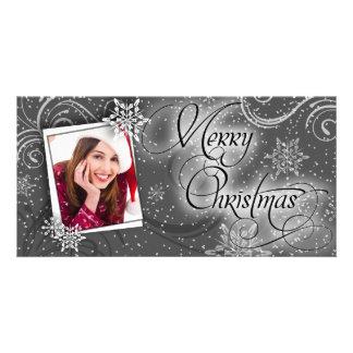 Stylish Snow Black & White Christmas Photo Card