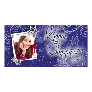 Stylish Snow Blue Glow Christmas Photo Card
