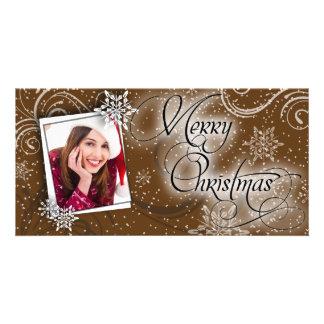 Stylish Snow Brown Glow Christmas Photo Card