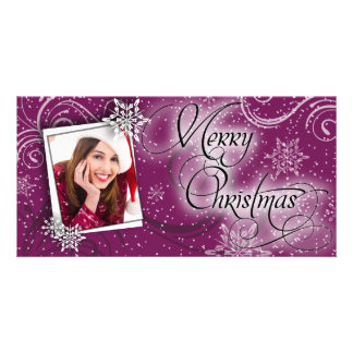 Stylish Snow Burgundy Glow Christmas Photo Card