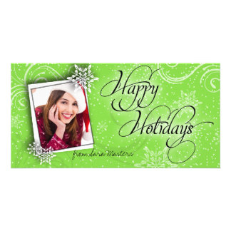 Stylish Snow Flake Green Happy Holiday Photo Card