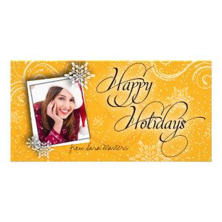 Stylish Snow Flake Orange Happy Holiday Photo Card