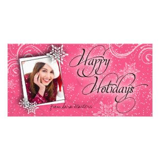 Stylish Snow Flake Pink Happy Holidays Photo Card