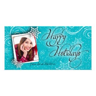 Stylish Snow Flake Teal Happy Holidays Photo Card