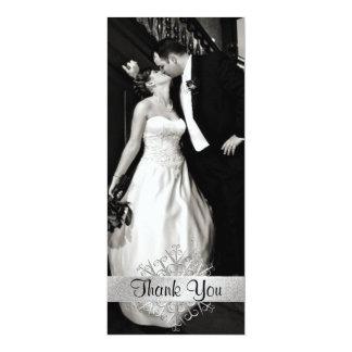 Stylish Snowflake Photo Wedding Thank You Card 10 Cm X 24 Cm Invitation Card