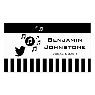 Stylish Songbird Black White Personalized Stripes Double-Sided Standard Business Cards (Pack Of 100)