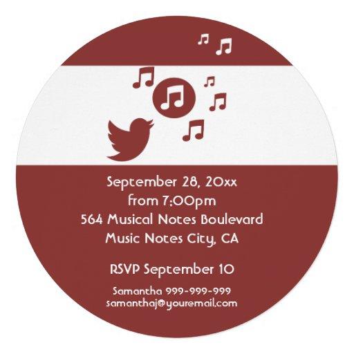 Stylish Songbird music note  Birthday Party