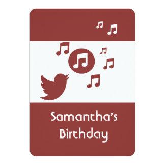 "Stylish Songbird music note  Birthday Party 5"" X 7"" Invitation Card"