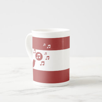Stylish Songbird Red and White Tea Cup