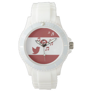 Stylish Songbird Red and White Watches