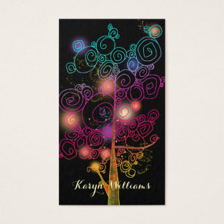 Stylish Spiral Trees Massage Therapy Business Card