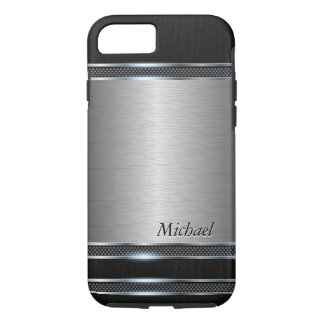 Stylish Stainless Steel Metal with Leather Look iPhone 8/7 Case