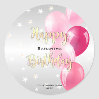Stylish Starry Happy Birthday and Pink Balloons Classic Round Sticker