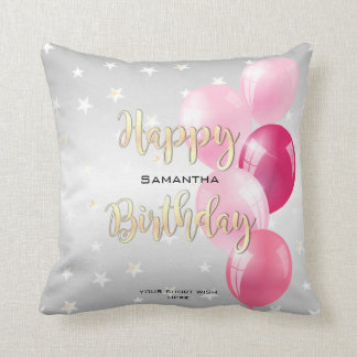 Stylish Starry Happy Birthday and Pink Balloons Cushion