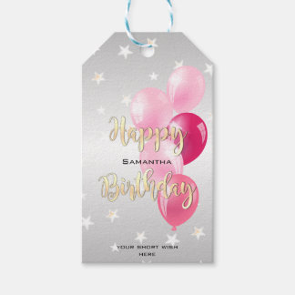 Stylish Starry Happy Birthday and Pink Balloons Gift Tags