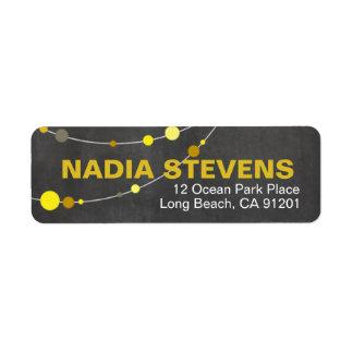 Stylish Strands   chalkboard yellow Return Address Label