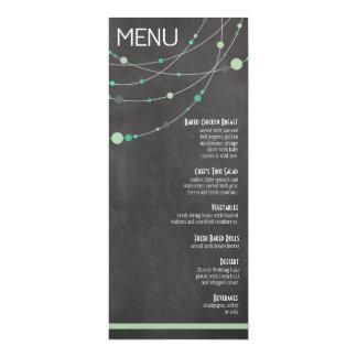 Stylish Strands Menu | chalkboard mint 10 Cm X 24 Cm Invitation Card
