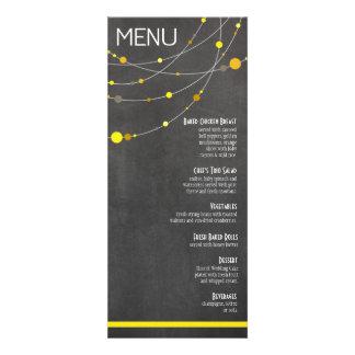 Stylish Strands Menu   chalkboard yellow Invitations