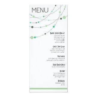Stylish Strands Menu | white mint 10 Cm X 24 Cm Invitation Card