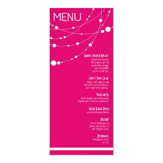 Stylish Strands Wedding Menu | fuschia 10 Cm X 24 Cm Invitation Card