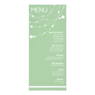 Stylish Strands Wedding Menu | mint 10 Cm X 24 Cm Invitation Card