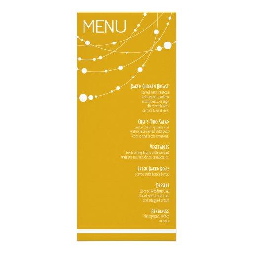 Stylish Strands Wedding Menu | yellow Custom Invitations