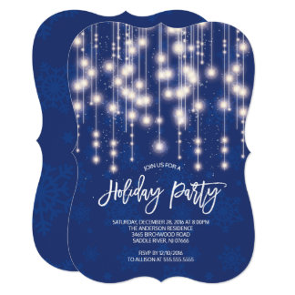 Stylish String of Light Holiday Party Invitation