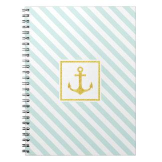 Stylish Striped Design Golden Anchor Spiral Notebook