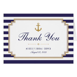 Stylish Striped Nautical Thank You Note Card