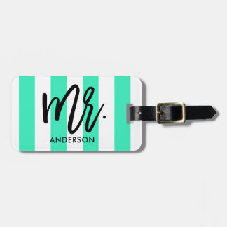 Stylish Stripes and Typography Luggage Tag