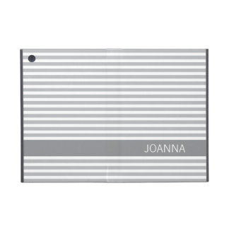 Stylish stripes gray modern personalized name iPad mini cover