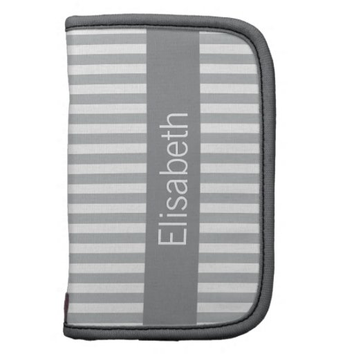 Stylish stripes gray modern personalized name planners