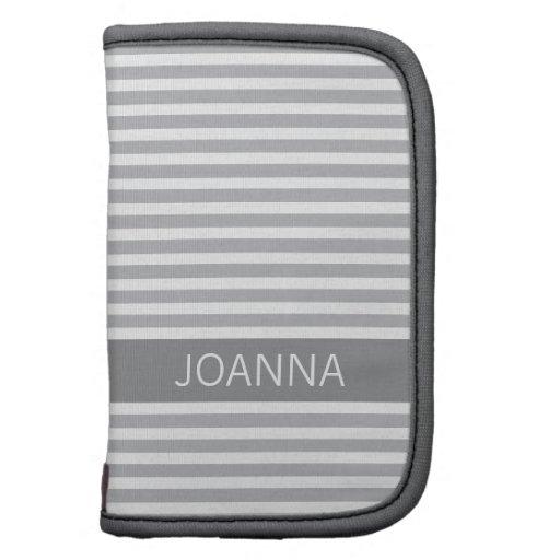 Stylish stripes gray modern personalized name folio planner