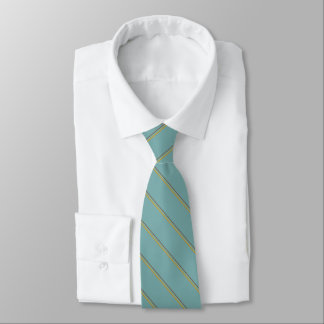 Stylish stripes in natural colors on teal blue tie