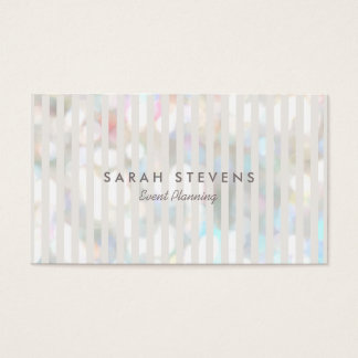 Stylish Subtle Bokeh White Stripes Event Planner Business Card
