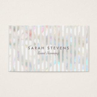 Stylish Subtle Bokeh White Stripes Event Planner Business Card