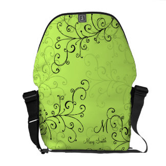 Stylish Swirl Custom Monogram Green Commuter Bag