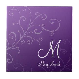 Stylish Swirl Custom Monogram Purple Small Square Tile