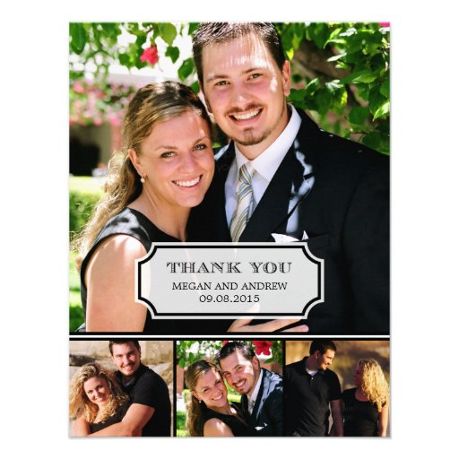 Stylish Tab Wedding Photo Thank You Card Personalized Announcements