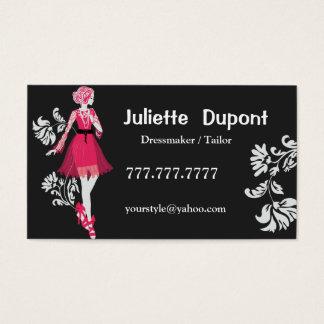 Stylish Tailor Dressmaker black Business Card
