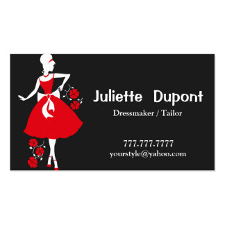 Stylish Tailor Dressmaker black Pack Of Standard Business Cards