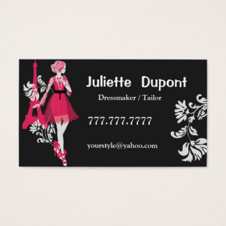 Stylish Tailor Dressmaker Eiffel tower black Business Card